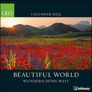 GEO Beautiful World 2022 - Wand-Kalender - Natur-Kalender - Broschüren-Kalender - 30x30 - 30x60 geöffnet
