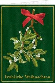 Weihnachtskarte mit Schleife und Kuvert - Fröhliche Weihnachten (Botanische Weihnachten)