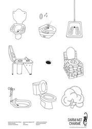 5er Set Plakat,'Darm mit Charme', Toiletten aller Welt