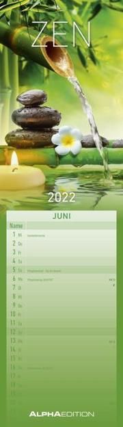 Streifenplaner Mini Zen 2022 - Streifen-Kalender 9,5x33 cm - Harmonie und Achtsamkeit - Wandplaner - Küchenkalender - Alpha Edition