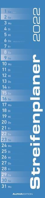 Streifenplaner BLAU 2022 - Streifenkalender - Wandplaner - Küchen-Kalender - 11,3x49,5