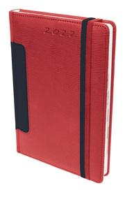 Buchkalender A5 Rot/schwarz 2022