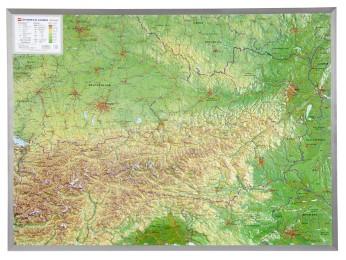Relief Österreich 1:800.000 mit Aluminiumrahmen