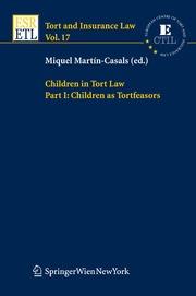 Children in Tort Law Part I: Children as Tortfeasors