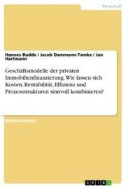 Geschäftsmodelle der privaten Immobilienfinanzierung. Wie lassen sich Kosten, Rentabilität, Effizienz und Prozessstrukturen sinnvoll kombinieren? - Cover