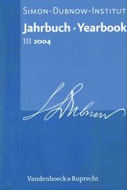 Jahrbuch des Simon-Dubnow-Instituts / Simon Dubnow Institute Yearbook III/2004