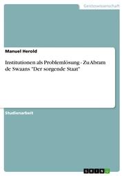 Institutionen als Problemlösung - Zu Abram de Swaans 'Der sorgende Staat'