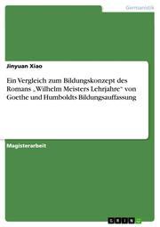Ein Vergleich zum Bildungskonzept des Romans 'Wilhelm Meisters Lehrjahre' von Goethe und Humboldts Bildungsauffassung