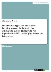Die Auswirkungen von materieller Deprivation und Defiziten in der Ausbildung auf die Entstehung von Jugendkriminalität und Möglichkeiten der Prävention