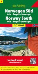 Norwegen Süd - Oslo - Bergen - Stavanger, Autokarte 1:250.000
