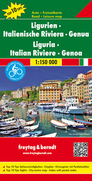 Ligurien - Italienische Riviera - Genua, Autokarte 1:150.000, Top 10 Tips
