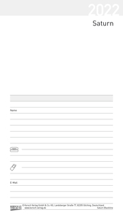 Taschenkalender Saturn Leporello Einlage 2022