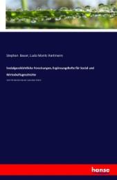 Sozialgeschichtliche Forschungen, Ergänzungshefte für Sozial und Wirtschaftsgeschichte
