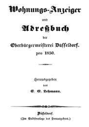Wohnungs-Anzeiger und Adreßbuch der Oberbürgermeisterei Düsseldorf pro 1850