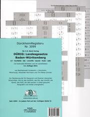 Dürckheim-Register Nr. 3099 für DÜRIG: Landesgesetze Baden-Württemberg, C.H. Beck Verlag