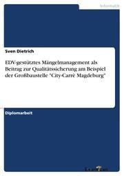 EDV-gestütztes Mängelmanagement als Beitrag zur Qualitätssicherung am Beispiel der Großbaustelle 'City-Carrè Magdeburg'