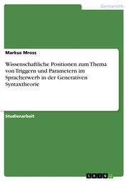 Wissenschaftliche Positionen zum Thema von Triggern und Parametern im Spracherwerb in der Generativen Syntaxtheorie