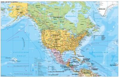 Nord- und Mittelamerika politisch