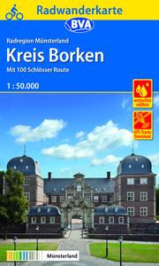Radwanderkarte BVA Radregion Münsterland Kreis Borken mit 100 Schlösser Route 1:50.000, reiß- und wetterfest, GPS-Tracks Download