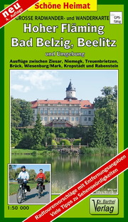 Große Radwander- und Wanderkarte Hoher Fläming, Bad Belzig, Beelitz und Umgebung