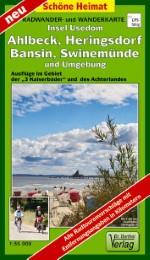 Radwander- und Wanderkarte Insel Usedom. Ahlbeck, Heringsdorf, Bansin, Swinemünde und Umgebung