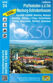 UK50-34 Landkreise Pfaffenhofen a.d.Ilm, Neuburg-Schrobenhausen