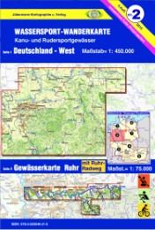 Deutschland-West mit Gewässerkarte Ruhr