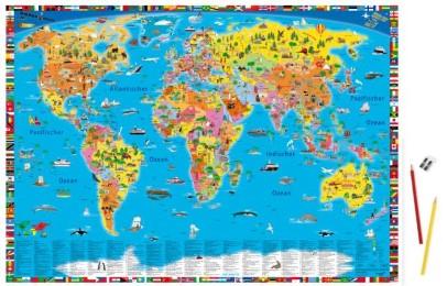 Illustrierte politische Weltkarte - Schreibtischunterlage