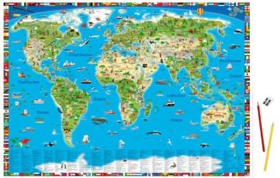 Erlebniskarte 'Illustrierte Weltkarte' - Schreibtischunterlage