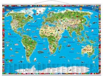 Illustrierte Weltkarte mit Metall-Beleistung