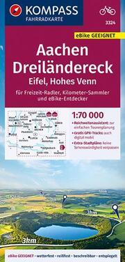 KOMPASS Fahrradkarte Aachen, Dreiländereck, Eifel, Hohes Venn 1:70.000, FK 3324