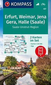 KOMPASS Wanderkarte Erfurt, Weimar, Jena, Gera, Halle (Saale)