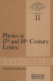 Physics at Seventeenth and Eighteenth-Century Leiden